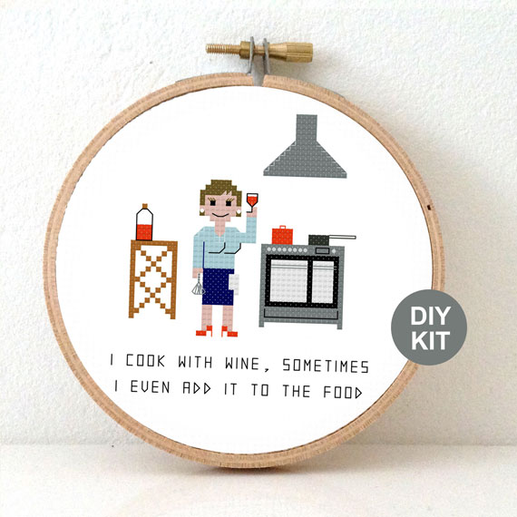 gift for female chef cross stitch kit