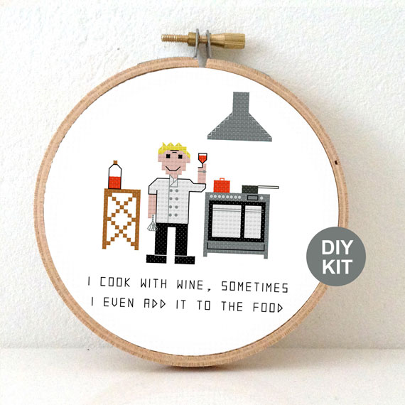 gift for male chef cross stitch kit