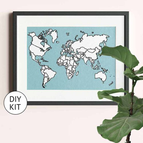 xl world map cross stitch kit blue
