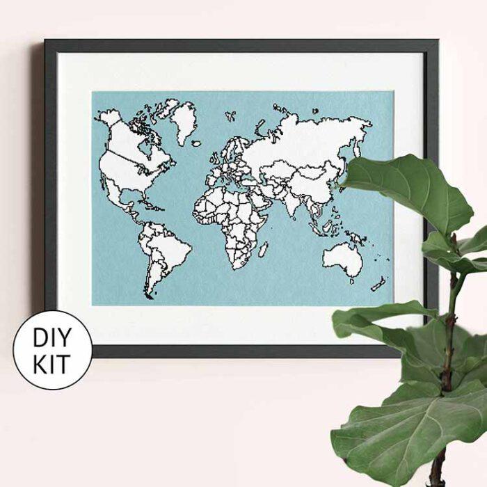 xl world map cross stitch kit blue