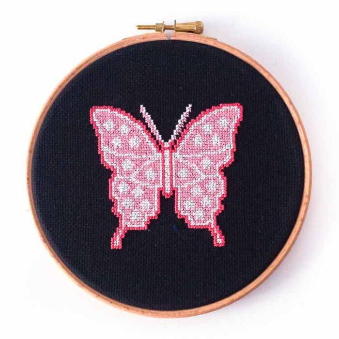 Glow in the dark butterfly cross stitch kit