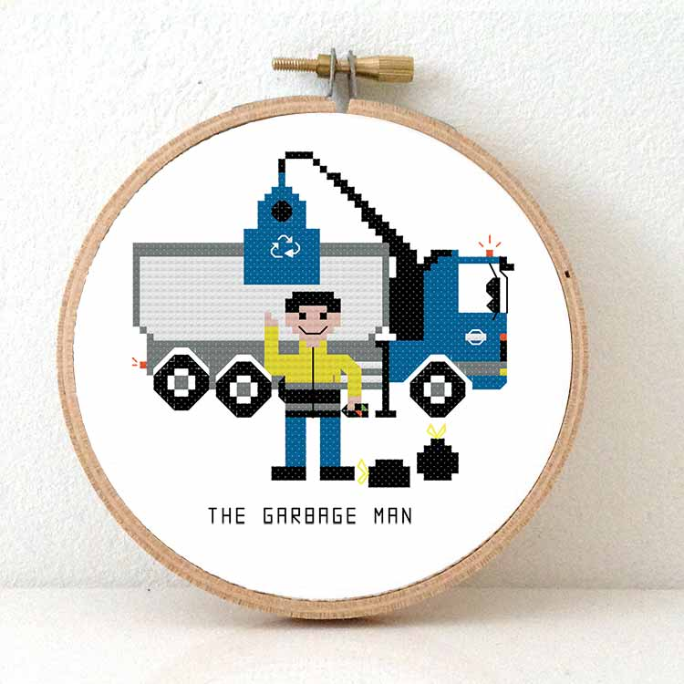 Garbage man cross stitch kit gift idea for garbage truck driver