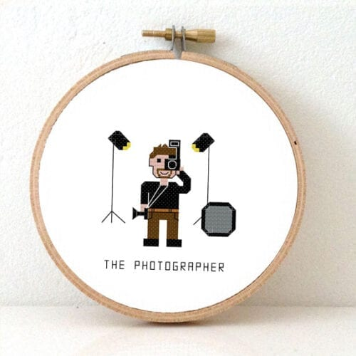 male photographer cross stitch pattern