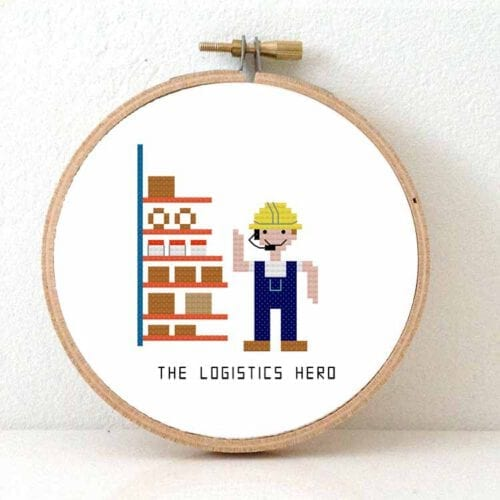 cross stitch kit logistics hero gift for distribution centre employee