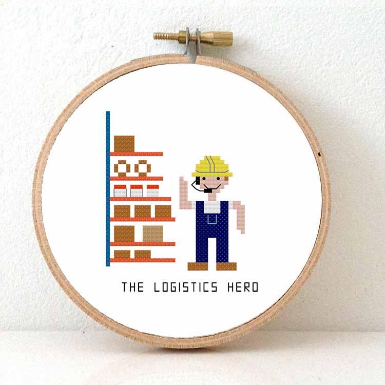 cross stitch kit logistics hero gift for distribution centre employee