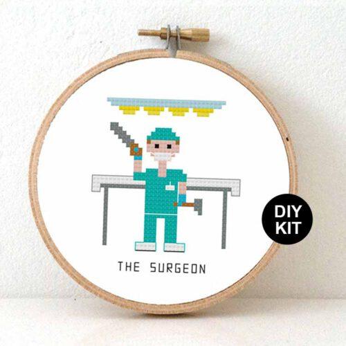 male surgeon cross stitch kit