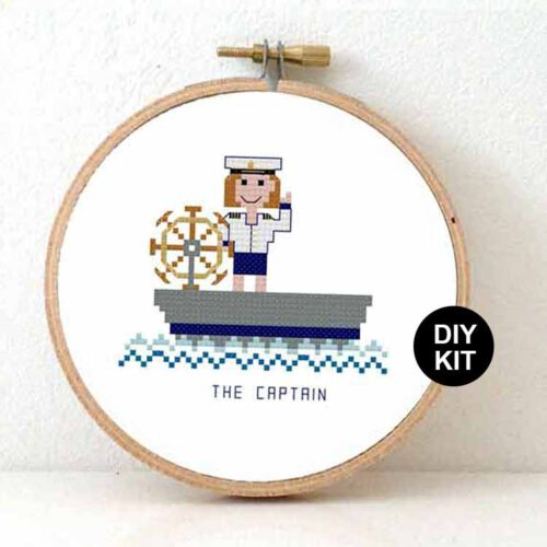 female boat captain cross stitch kit
