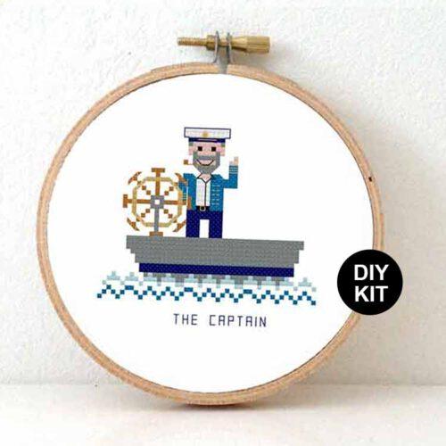 male boat captain cross stitch kit