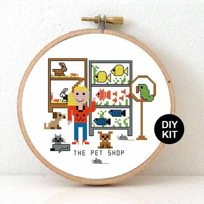 gift for female pet shop cros stitch kit