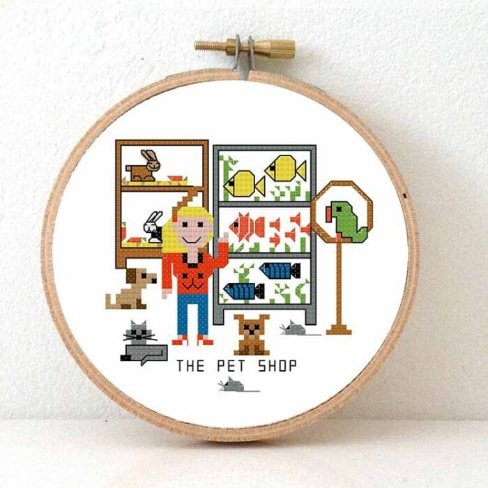 gift for female pet shop cros stitch pattern