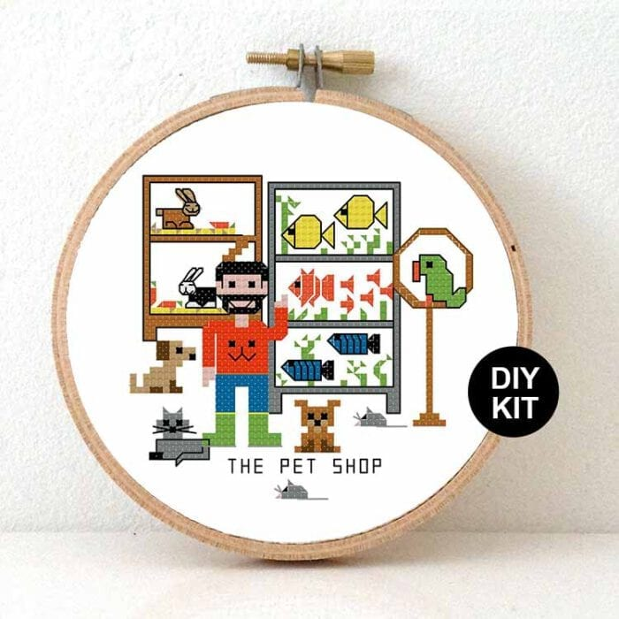 gift for male pet shop cros stitch kit