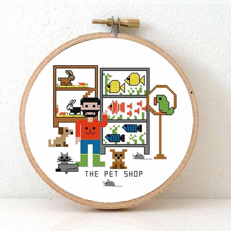 male pet shop cros stitch pattern