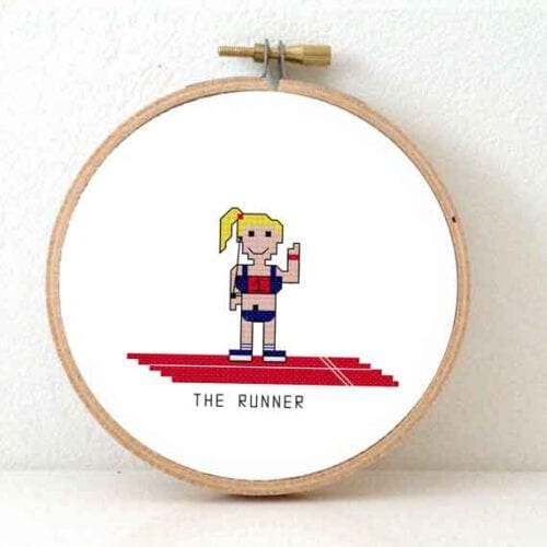 gift for female marathon runner cross stitch pattern