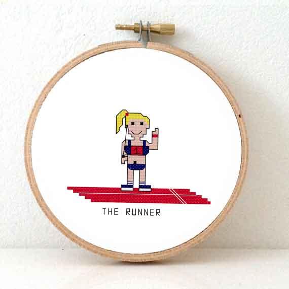 gift for female marathon runner cross stitch pattern