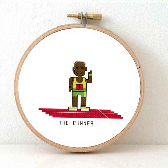 gift for male marathon runner sport cross stitch pattern