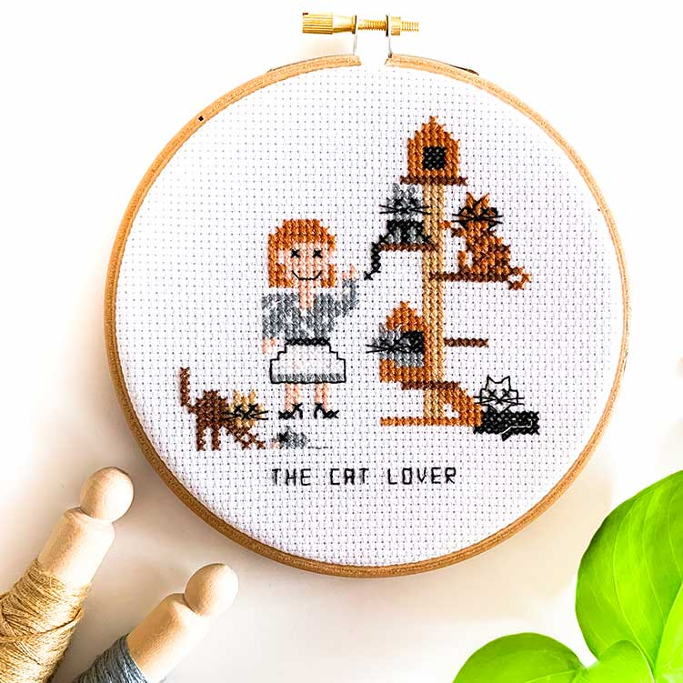 cat lover cross stitch kit