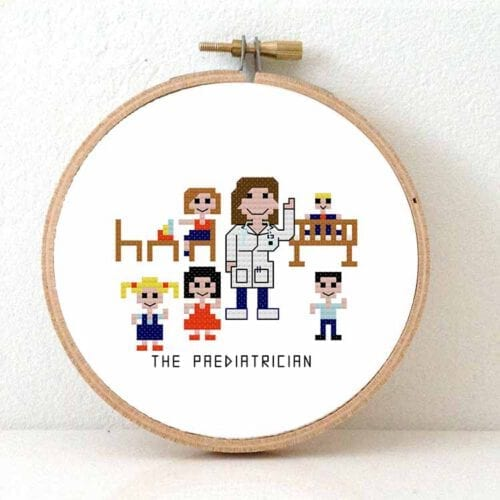 diy gift female paediatrician cross stitch pattern