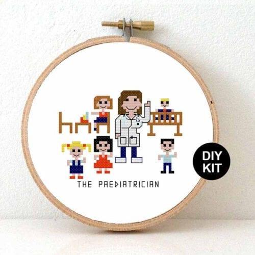 diy gift male paediatrician cross stitch kit