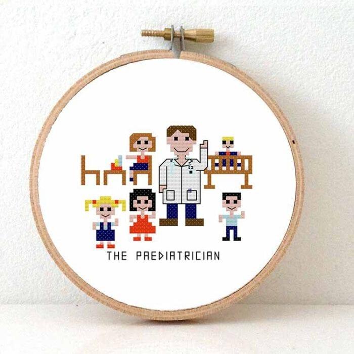 diy gift male paediatrician cross stitch pattern