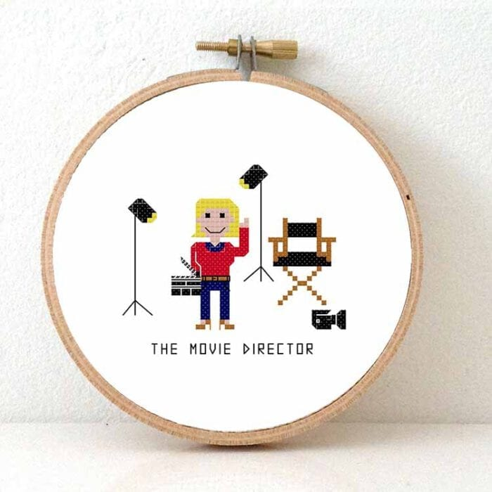 female movie director cross stitch pattern