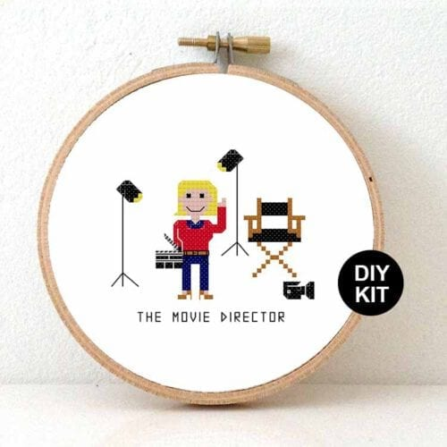 female movie director cross stitch kit