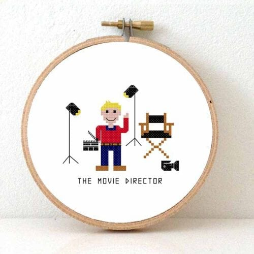 male movie director cross stitch pattern