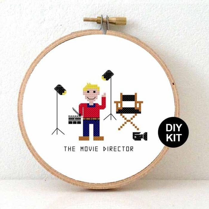 male movie director cross stitch kit