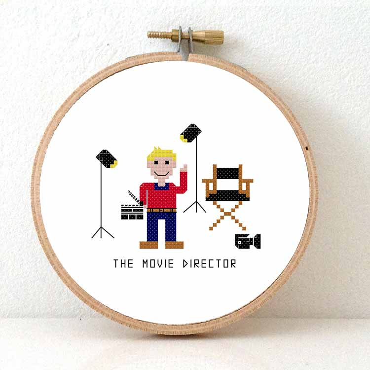 male movie director cross stitch pattern