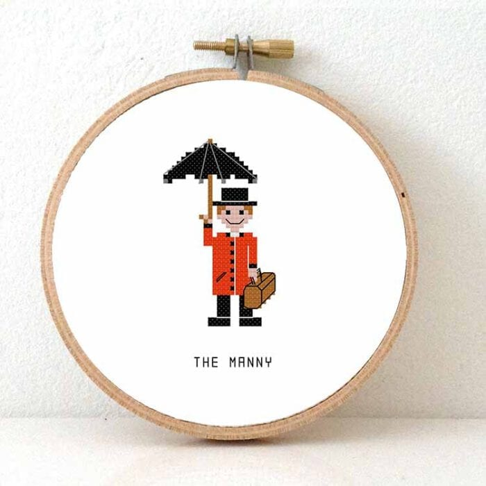 manny male basysitter cross stitch pattern