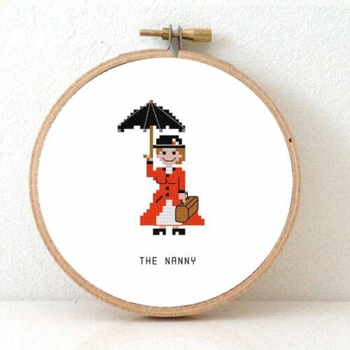 nanny female basysitter cross stitch pattern