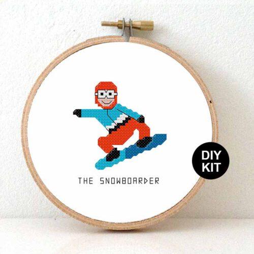 male snowboarder cross stitch kit