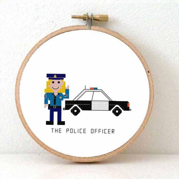 Female police agent cross stitch pattern