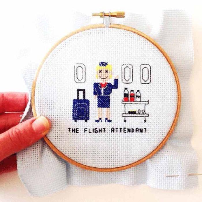 gift for female flight attendant cross stitch pattern