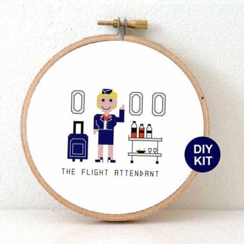 gift for female flight attendant cross stitch kit