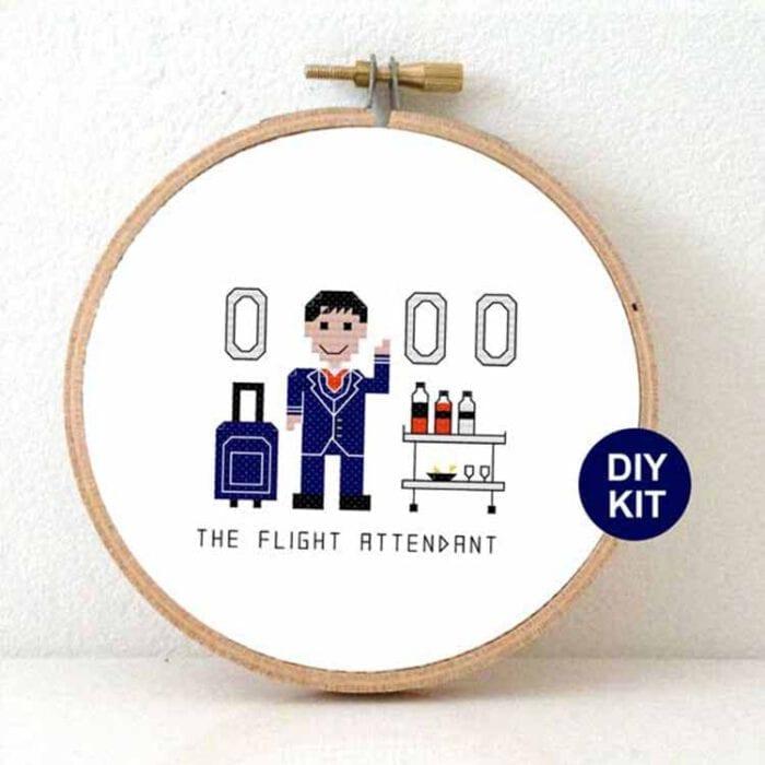 gift for male flight attendant cross stitch kit
