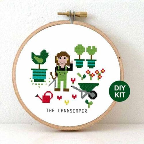 gift for female landscaper cross stitch kit