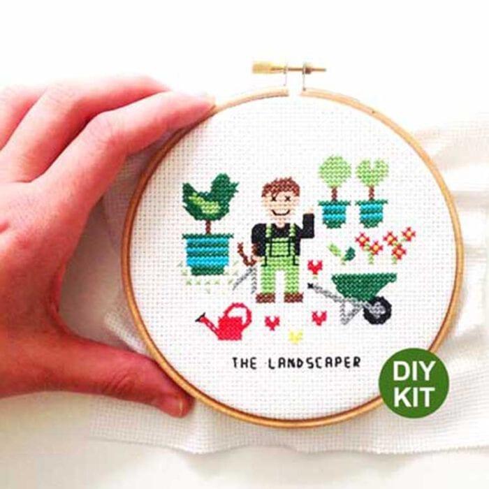 gift for male landscaper cross stitch kit