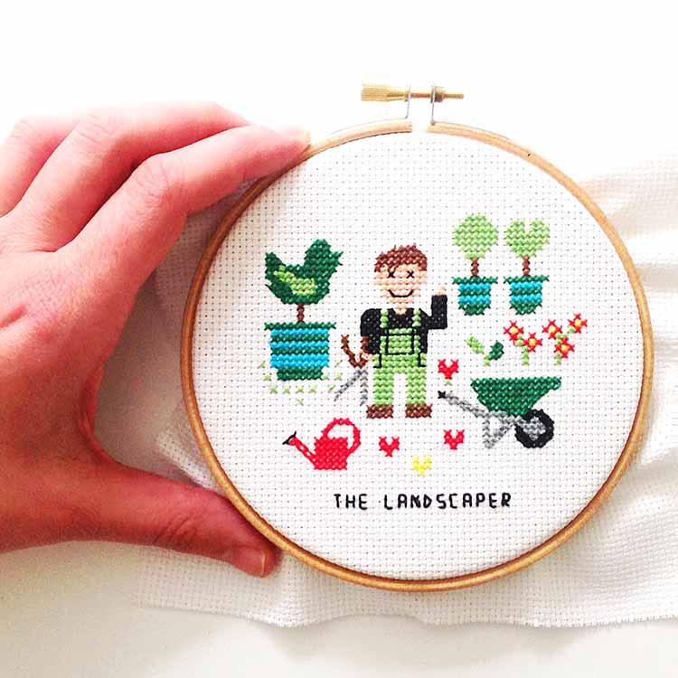 gift for male landscaper cross stitch pattern