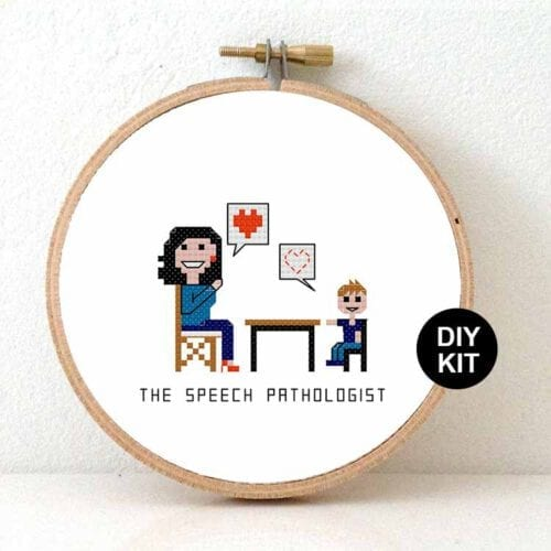 female speech pathologist cross stitch kit