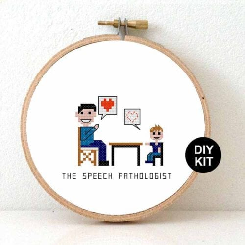 gift for male speech therapist cross stitch kit