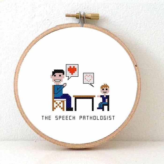 gift for male speech therapist cross stitch pattern
