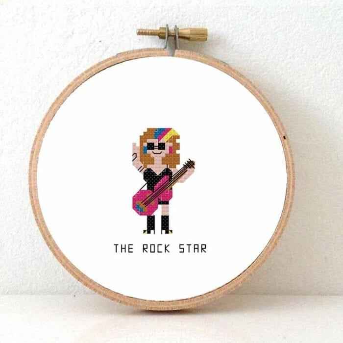 female rock star cross stitch pattern