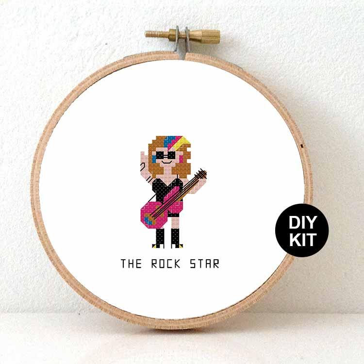 female guitar player rock star cross stitch pattern