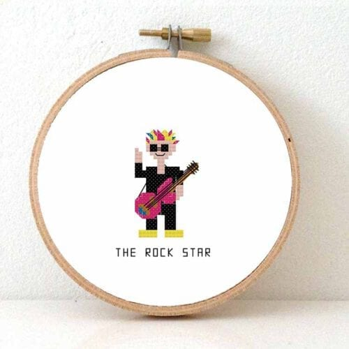 male rock star cross stitch pattern