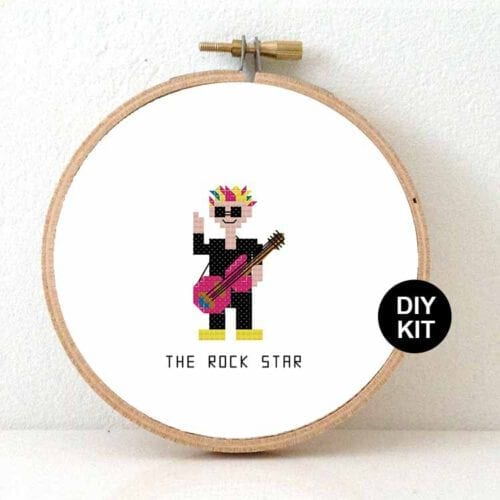 male guitarist rock star cross stitch pattern