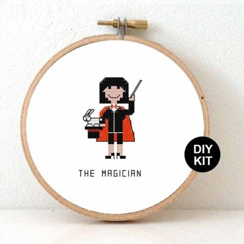female magician cross stitch kit