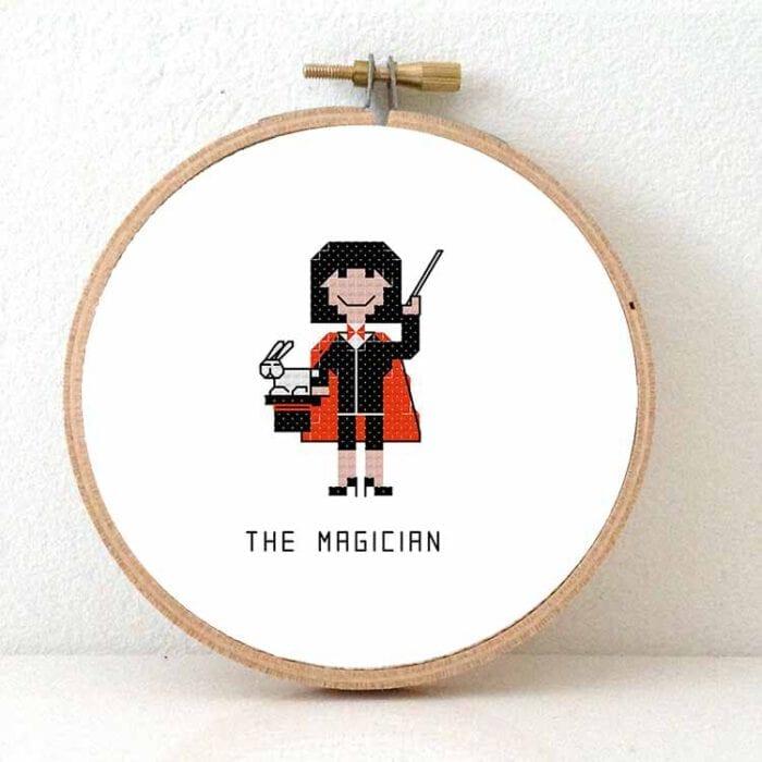 female magician cross stitch pattern