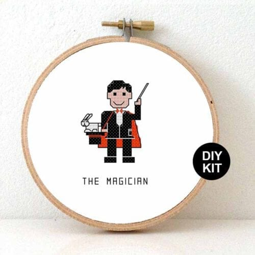 male magician cross stitch kit