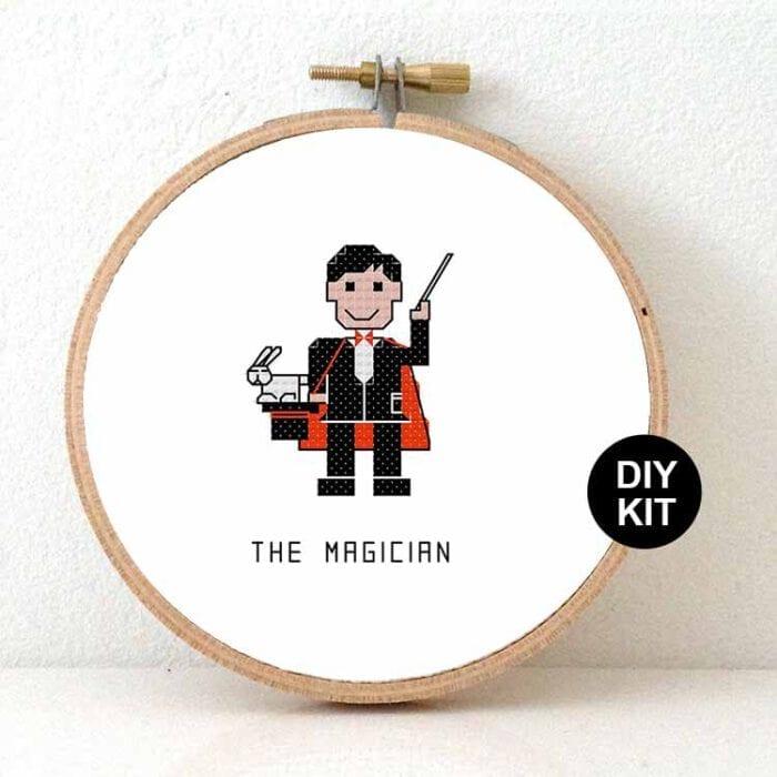 male magician cross stitch kit