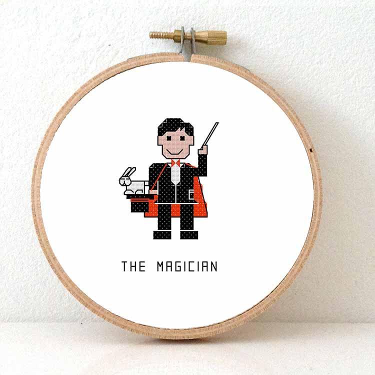male magician cross stitch pattern